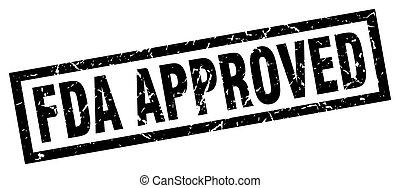 square grunge black fda approved stamp
