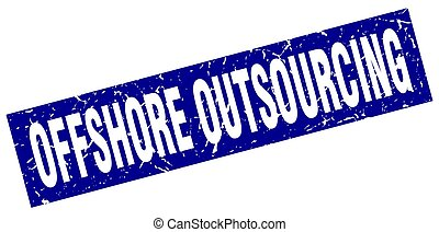 square grunge blue offshore outsourcing stamp
