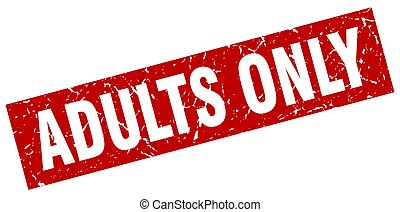 square grunge red adults only stamp