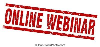 square grunge red online webinar stamp