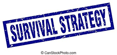 square grunge blue survival strategy stamp