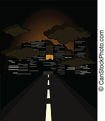 The night road conducts to a city. A vector illustration