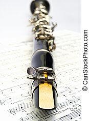 Clarinet on sheet music.
