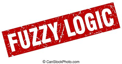 square grunge red fuzzy logic stamp