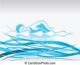 der, schwimmer, Flösse, Wellen, a, vektor, abbildung