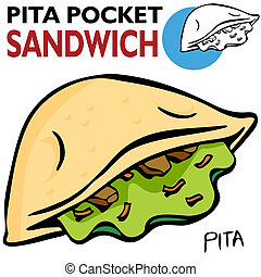 Pita Pocket Sandwich - An image of a Pita Pocket Sandwich