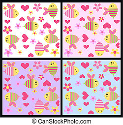flower and bee pattern