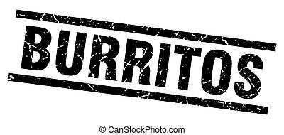 square grunge black burritos stamp