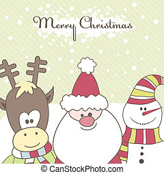 Santa, Reindeer, snow man. Vector illustration
