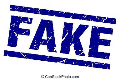 square grunge blue fake stamp