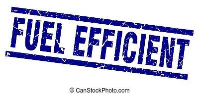 square grunge blue fuel efficient stamp