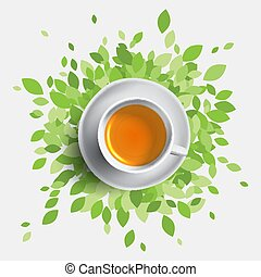 Black tea cup vector illustration, concept with green...