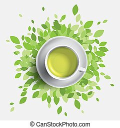 Green tea cup vector illustration. Green leaves with mug of...