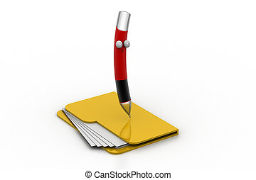 File folder with pen