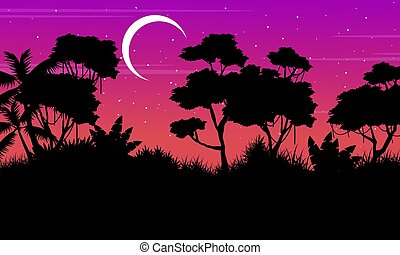 Landscape of tree on jungle silhouette