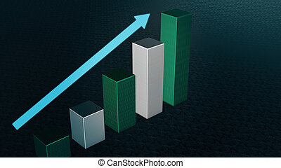 Graph Bar, Infographic diagram, chart. 3D rendered
