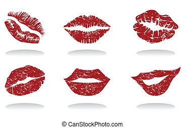 Collection of female lips of the different form. A vector...