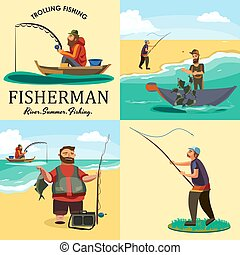 Set of cartoon fisherman catches fish sitting boat fisher...