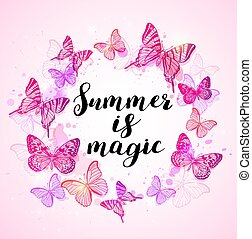 Summer background with pink butterflies