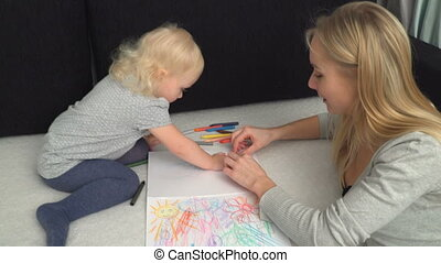 mother and her small daughter are drawing
