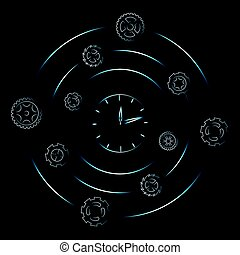 clock surrounded by spinning gearwheels and cogwheels,...