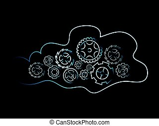 cloud with gearwheel mechanism, data processing concept -...
