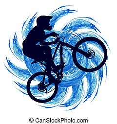 Circuit bicyclist on a background of an abstract figure with...
