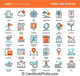 Travel and Vacation - Vector set of travel and vacation flat...
