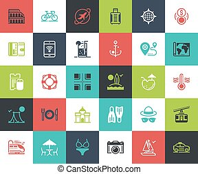 Leisure and Tourism - Vector set of leisure and tourism flat...