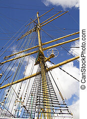rigging and mast of old ship in detail.