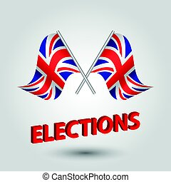 vector waving simple triangle two crossed british flags on slanted silver pole with red title elections - united kingdom