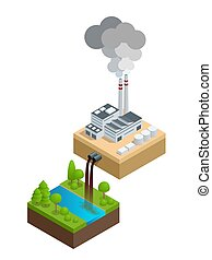 Isometric Pollution of the environment concept. The plant...