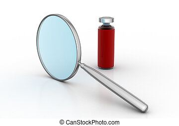 Magnifying glass with medicine bottle