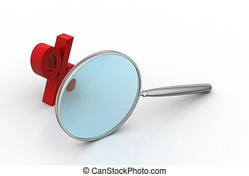 Magnifying glass with percentage sign