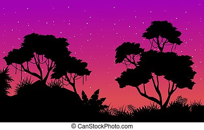 Silhouette of jungle at night landscape