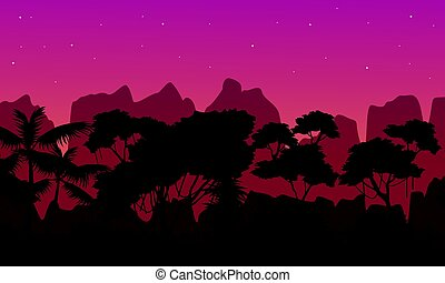 Beauty scene rain forest with mountain silhouette...