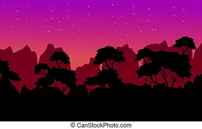 Beauty landscape rain forest silhouette collection vector...