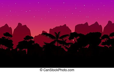 Beauty landscape rain forest with tree silhouette vector art