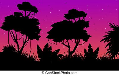 Landscape of tree on the jungle silhouette