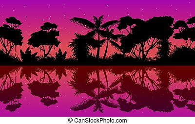Landscape jungle with tree reflection silhoutte vector art