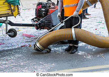 Street cleaner with industrial vacuum cleaner. Municipal...