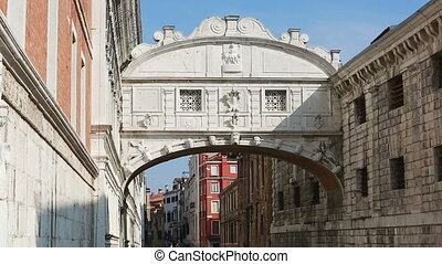 Boat Passing Under Bridge of Sighs in Venice, Italy - Video...
