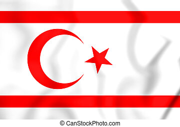 3D Flag of Northern Cyprus. 3D Illustration.