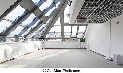 Interior with a glass ceiling and white walls.
