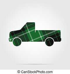 green, black tartan icon - pickup with a flatbed - green,...