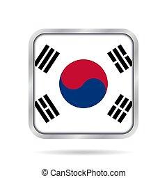 Flag of South Korea. Metallic gray square button.
