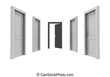 Take the Black Door - abstract hallway with gray doors - one...