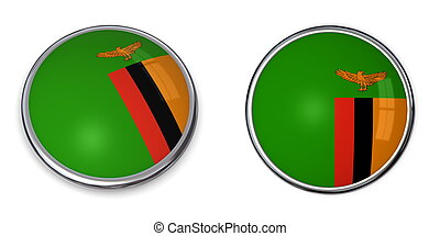Banner Button Zambia - button style banner in 3D of Zambia