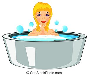 Girl bathes in basin - Making look younger beautiful girl...