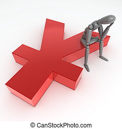 Sitting on Glossy Red Yen Symbol - grey person is sitting...